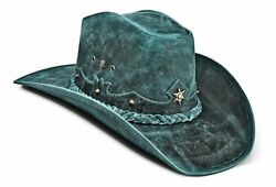 Cowboy Hat Genuine Leather Vintage Blue Western Hat For Mens And Womens Zalupe