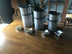 Tupperware One Touch Silver Black Canister Set 6 Nesting Canisters Lids 4 Scoops