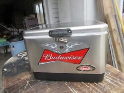 New Budweiser Beer Stainless Steel Colman Cooler Carry All Bottle Cans Game Room
