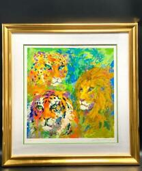 Leroy Neiman Family Portrait Signed And Numbered Serigraph Framed Lion Tiger