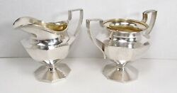 Antique 1900s The Schofield Co. Usa Sterling Silver Creamer And Sugar Bowl Set