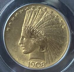 1908 Gold 10 Indian Pcgs Ms62 Motto