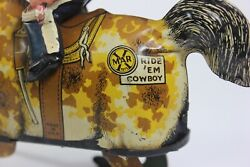Vintage 1925 Marx Tin Lithographed And Celluloid Ride 'em Cowboy Wind-up Toy