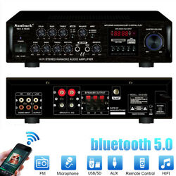 Sunbuck 2000w Bluetooth Car Power Amplifier Stereo Aux 2ch Home Audio Amp Fm