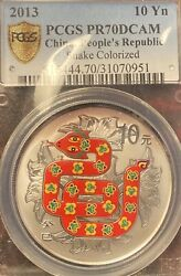 2013 Peopleandrsquos Repblic Of China Year Of The Snake Colored Pcgs Secure Pr70dcam