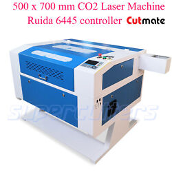 Ruida System And Rotary 80w Co2 Laser Engraver Cutter Machine 700mm X 500mm