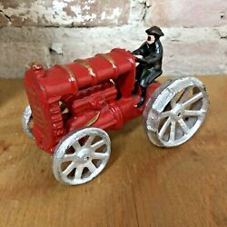 Antique Cast Iron Toy Tractor Ford Red W/ Driver Vintage Farm Toys 5 X 3.25