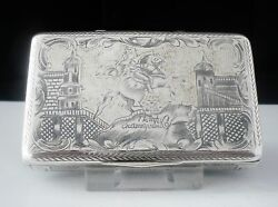 Antique Russian Silver Niello Snuff Box Monument Peter The Great St Petersburg