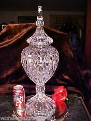 Monumental 12 Lb Crystal Glass Apothecary Display Jar Huge 21+ T Unique Czech