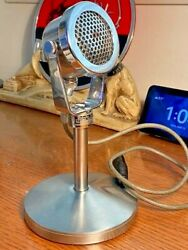 Vintage 1940's Webster Chicago 1245 Dynamic Microphone, Works W/ Stand And Cable