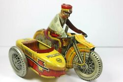 1930's Marx Police Siren Motorcycle W/driver And Sidecar No.3 Tin Wind Up 8 Long