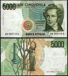 Italy P111c 5000 Lire Nd 04/01/1985 Xf/au Usa Seller
