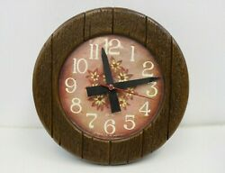 Vintage Spartus Corp Usa 1979 Plastic Wall Kitchen Clock Wood Frame Floral Look