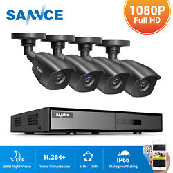 Sannce 4ch 1080p Dvr Outdoor 2mp Hd Home Security Camera System Kit Night Vision