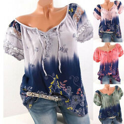 Women Lace Short Sleeve T Shirt V Neck Casual Summer Floral Loose Blouse Tops $15.57