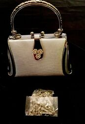 Silver Evening Purse Metal Handle Rhinestone Clasp Dressy Mira Collections NWT $26.00