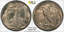1935 D Walking Liberty Half Pcgs Ms 65 Clean Silver Satin With A Hint Of Vanilla