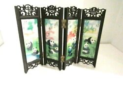 Vintage Asian Panda Table Top Miniature Room Divider Screen Hand Painted
