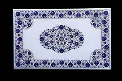 4and039x2.5and039 Marble Dining Table Top Marquetry Semi Precious Inlay Lapis Decorative