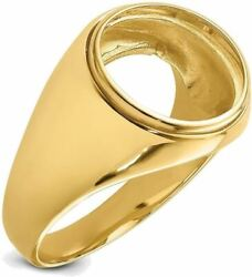 14k Yellow Gold Polished Mens Comfort Fit 13mm Coin Bezel Ring