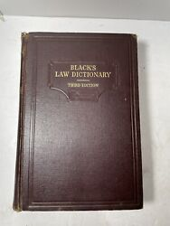 Blackand039s Law Dictionary / Third Edition / West Publishing Co 1933 Hardcover