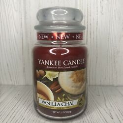 Vanilla Chai Yankee Jar Candle 22 OZ Food amp; Spice Red NEW