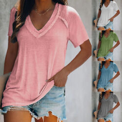 Summer Women V Neck Short Sleeve T Shirt Casual Tunic Top Loose Fit Solid Blouse $14.69