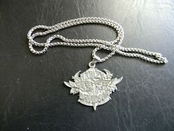 Harley Davidson Flame Eagle Pewter Pendant Stainless Steel Chain Necklace