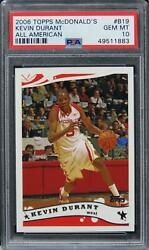 2006 Topps Mcdonald's Kevin Durant All American Rookie Rc B19 Psa 10 Gem Mint