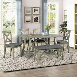 6 Pieces Dining Table Set Rustic Style Wood Bench And 4 Chairs Breakfast Kitchen