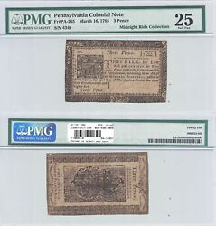 March 161785 3 Pence Pennsylvania Colonial Fr Pa-265 Pmg Very Fine-25