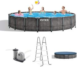 Intex 18ft X 48in Greywood Prism Steel Frame Pool Set With Cover Ladder Pump