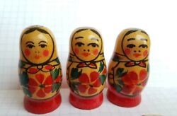 Vintage Small Figure Wooden Nesting Dolls 3pcs And One Matryoshka Magnet Used