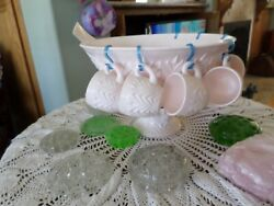 Shell Pink Milk Glass Absolutely Lovely Punch Bowl Cups Ladle Perfect W/ Hangers