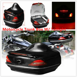 Motorcycle Scooters Bike Luggage Trunk Box Rear Storage Case With Tail Light Abs
