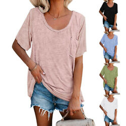 Summer Womens Short Sleeve Round Neck Blouse Casual Pocket T Shirt Loose Top Tee $14.34