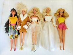 Rare Barbie Doll Lot Of 5 Dolls All Dressed With Different Outfits