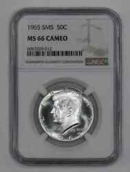 1965 Sms Kennedy Half Dollar 50c Ngc Ms 66 Mint State Unc - Cameo 012