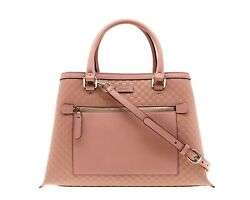 Gucci Tote Shoulder Bag GG Microguccissima Pink Leather New $891.00