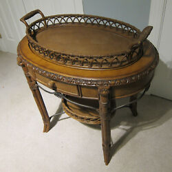 Vintage Wicker And Wood Table Console W/ Drawers And Removable Serving Tray