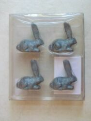Pottery Barn Set 4 Essex Bunny Place Card Name Tag Holders Long Ears Rabbit Zinc