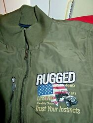 Rare Jeep Brand Merchandise Menand039s Rugged Olive Green Bomber Style Jacket-xl-euc