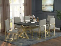 Gold Trestle Dining Table Dark Walnut Top Grey Leatherette Chairs Furniture Set