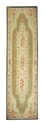 Handwoven Floral Aubusson Needlepoint Embroidery Tapestry Rug 93x310cm