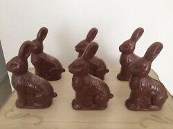 Set Of 6 Faux Chocolate Bunny Plastic Treat Containers