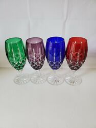 4 New Cut To Clear Water Goblets Iced Tea Hungary Cobalt Red Green Amethyst
