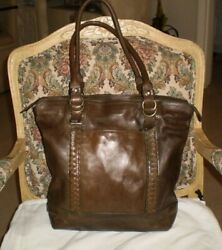 COLE HAAN artisan LARGE tote hobo brown distressed glazed .leather purse $49.99