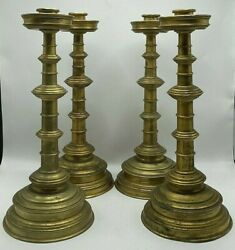 Set Of Four Antique Gilt Brass English Beehive Candle Stands -14 7/8