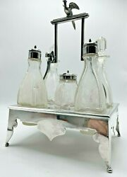 Civil War Rogers, Smith And Co. New Haven Conn. Silver Plate/cut Crystal Cruet Set