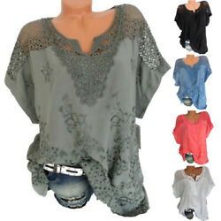 Summer Womens Casual Lace Blouse V Neck Short Sleeve T Shirt Loose Solid Top Tee $14.85